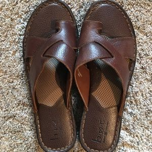 b.o.c. Brown Leather Sandals Size 10